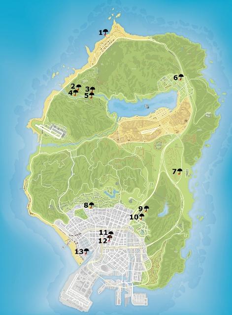 Карта прыжков с парашютом GTA 5