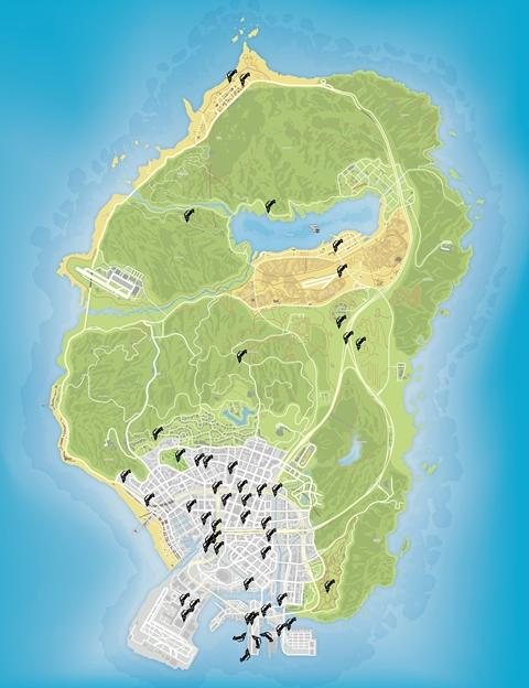 Карта уникальных прыжков GTA 5